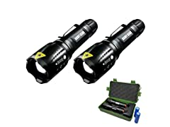 Army Gear 1000 Lumen Viper Rechargeable Tactical Flashlight 2-Pack
