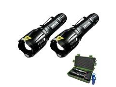 Army Gear 1000lm Viper Tac Flashlight 2Pk