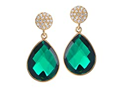 Gold-Plated SS Emerald Glass Stone Earrings