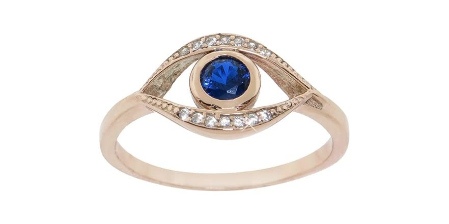 gold sterling silver pave evil eye ring fashion