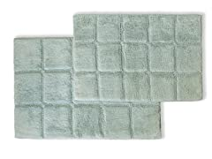 Superior Non-Skid 2Pc Checkered Bath Rug Set