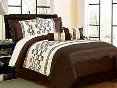 Rolando 7pc Comforter Set - Brown - 2 Sizes