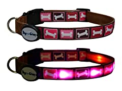 Dog-e-Glow Pink Bones LED Lighted Collar -  Large