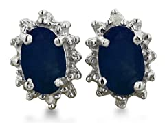 1ct Sapphire And Diamond Earrings In Sterling Silver