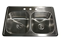 33-Inch Kitchen Sink, Stainless Steel