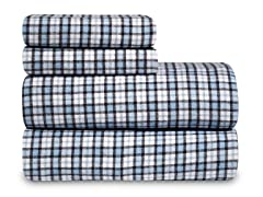 Mini Blue Plaid Flannel Sheet Set-3 Sizes
