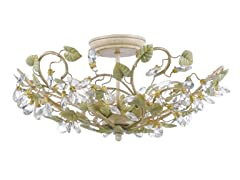 3-Light Flush Mount, Champagne/Green Tea
