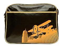Brown Vintage Biplane Diaper Bag