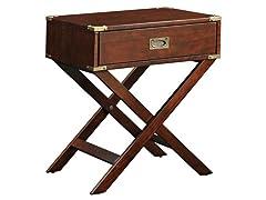 Espresso Box Accent Table with X Leg