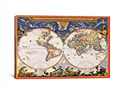 Antique World Map ca 1664 26x18