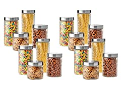 Embossed 24 Piece Glass Canister Set
