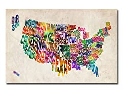 US States Text Map Canvas Art