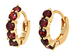 18K GPGold and Ruby Crystal Round Huggie
