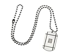 Stainless Steel Dog Tag w/ Cut Out Square and Cubic Zirconia