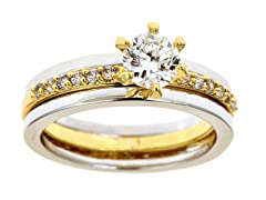 18kt G/WG Plated Sim Diamond Ring Set