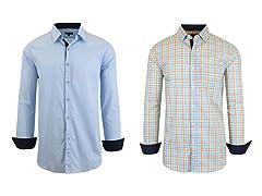 Men LS Stretch Solid&Printed Dress Shirt