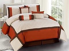Odessa 7pc Comforter Set - Brick - 2 Sizes