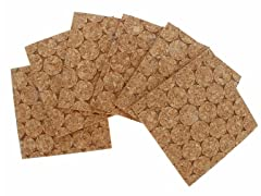 Natural Dotted Cork 6-Piece Coaster Set