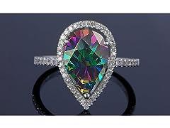 Genuine Pear Cut Rainbow Topaz Ring
