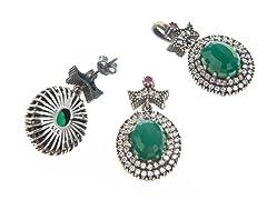 Set of SS Otantic Oval Dyed Emerald Genuine Semi-Precious Gemstone