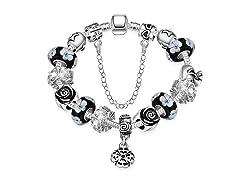 Dark Floral Night Charm Bracelet