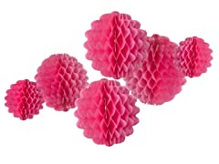 6pk Honeycomb Tissue Poms - Magenta