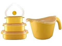 Batter Bowl, Lid & 6-Piece Set Lemon