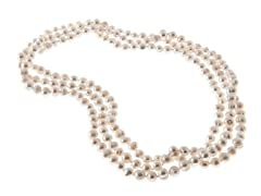 White Freshwater Pearl Necklace, 64""
