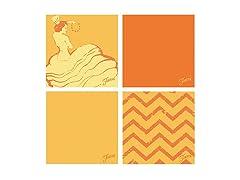 Fiesta Orange Dancing Chevrons Coasters