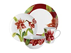 Amaryllis 16pc Holiday Dinner Set