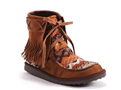 MUK LUKS ® Tanya Short Fringe Tie Boot, Brown