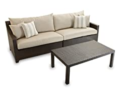 2-Piece Sofa and Coffee Table Set, Slate