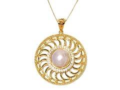 PinWheel White Mabe Pearl CZ Pendant