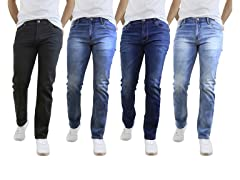 Mens Asst Washed Straight-Leg Jeans 2PK