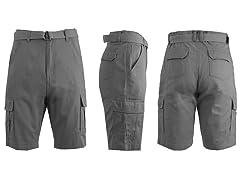 Men's Heavy Twill Belted Cargo Shorts