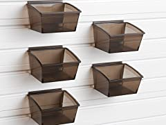 Flow Wall Small Hard Bins 5-Pack, Black