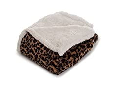 Fleece Sherpa Blanket Throw - Leopard