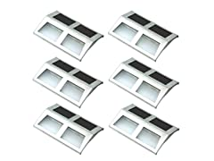 Sunnydaze Stainless Steel Solar Security Mounted LED Lights for Stairway (Set of 6)
