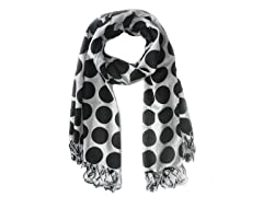 Kitara  Big Polka Dot Scarf Black & White