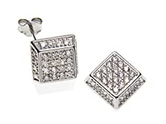 Simulated Diamond Square Stud Earrings