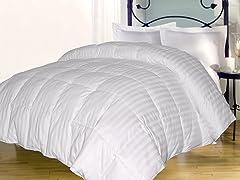 Stripe Down Alternative Comforter-White-3 Sizes