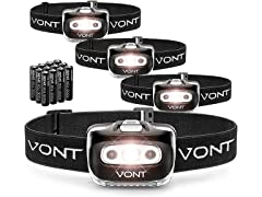 Vont 'Spark' LED Headlamp Flashlight 4Pk