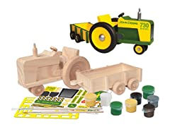 Paint-Your-Own Wooden John Deere Tractor & Wagon