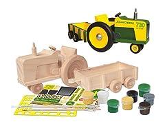 Paint-Your-Own Wooden John Deere Tractor & Wagon