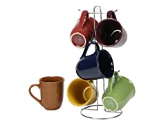 Cafe Amaretto 7pc Mug Set With Wire Rack
