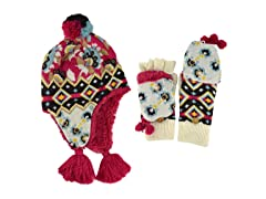 MUK LUKS® Fur Lined Helmet w Glove, Red/White