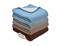 Serta® Heated Microfleece & Sherpa Reversible Throw