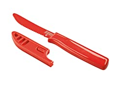 Kuhn Rikon Serrated Curved Knife, Red
