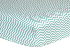 Mint Chevron Flannel Crib Sheet
