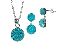 Blue Crystal Balls Chain/Stud Set